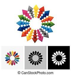 Abstract, colorful & brilliant creative design star vector logo icon
