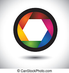 abstract colorful camera shutter ( aperture ) with blades - vector background. The graphic contains aperture opening of SLR camera with infinite concentric spiral of blades