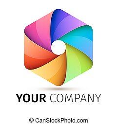 Abstract colorful camera shutter logo