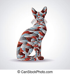 Abstract colorful cat.