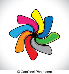 Abstract colorful child toy colgadura(whirligig)- vector graphic. The symbol includes colors like orange, red, blue, pink and green