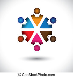 Abstract colorful children(kids) icons in circle- vector graphic. This multi-color illustration also represents concept of children playing together, friendship, team building, group activity, etc