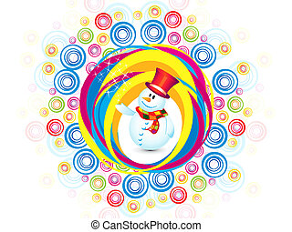 abstract colorful christmas snowman explode