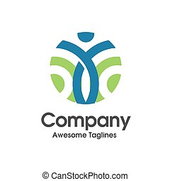 colorful circle human figure active Fitness logo