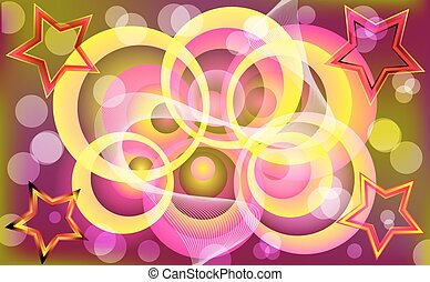 Abstract colorful circle & star design.