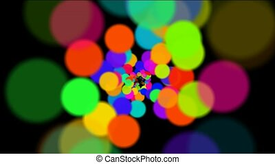 abstract colorful circles loop at night, bubble and blister array background, dancing dots and particles.
