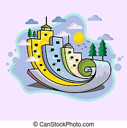 abstract colorful city illustration