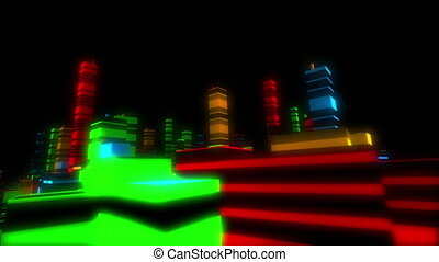 Abstract colorful city ride