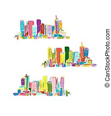 Abstract colorful city, sketch for your design