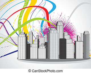 abstract colorful city