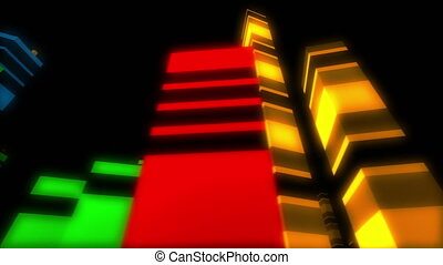 Abstract colorful city with dancing