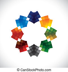 Abstract, colorful creative design star like vector symbol