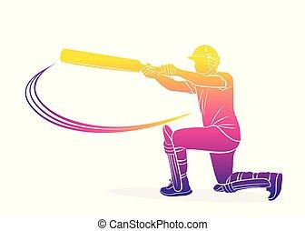 cricket player hitting big shot - abstract colorful cricket...