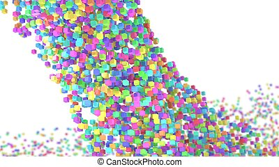 Abstract colorful cubes flow 3d illustration