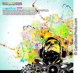 Colorful DJ Disco Flyer with Rainbow Colours