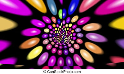 Abstract colorful dots tunnel