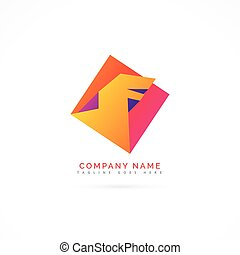 abstract colorful dragon logo concept