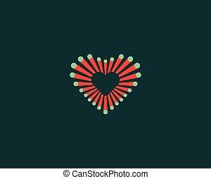 Abstract colorful fiber dot heart logo. Love vector icon logotype