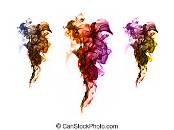 Abstract colorful flame patterns on white background