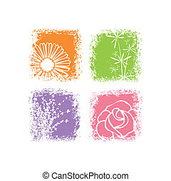 Abstract colorful flower on white background - Abstractcard...