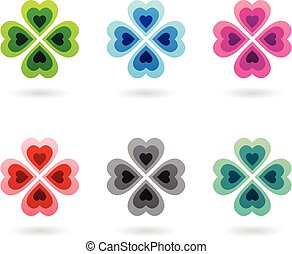 Abstract Colorful Four Leaf Clovers