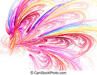 abstract colorful fractal curves on white