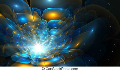 Abstract colorful fractal flower in blue and orange color