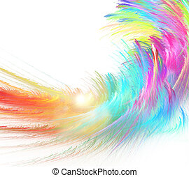 abstract colorful fractal fluffy wave on white