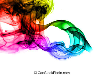 Abstract colorful fume pattern on white