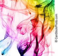Abstract colorful fume patterns on white