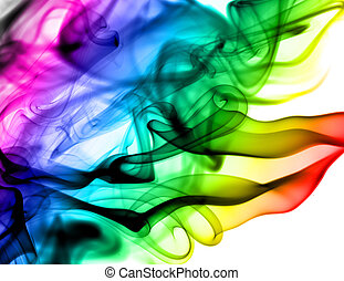 Abstract colorful fume patterns over the white background