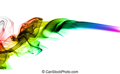 Abstract colorful fume shape on white