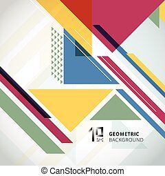 Abstract colorful geometric with triangles on white background and copy space.