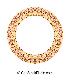 Abstract colorful geometrical floral round frame