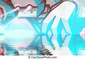 Abstract colorful graffiti reflection in the water