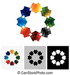 Abstract, colorful graphic of star like creative design vector logo icon