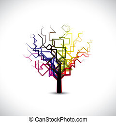 Abstract, colorful graphic tree symbol in digital or binary style.