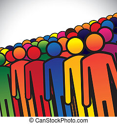 abstract colorful group of people or workers or employees - concept vector. The graphic also represents people icons in various colors forming a group of students, children or kindergarten kids