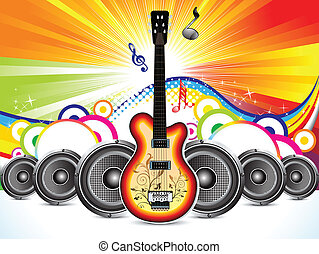 abstract colorful guitar with sound