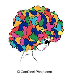 abstract colorful hair - Illustrati