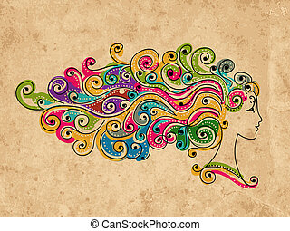Abstract colorful hairstyle, female head for your design