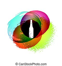 Abstract colorful hand drawn stains background with bottle. Vintage grunge vector illustration. Eps10.