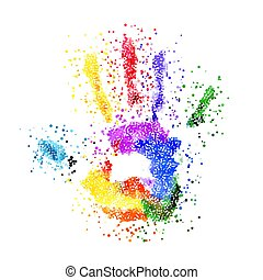 Colorful Handprint - Abstract Colorful Handprint of Dots....