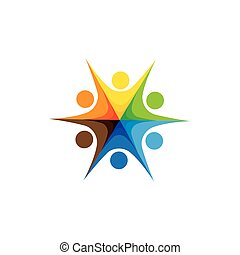 Abstract colorful happy people vector logo icons as ring