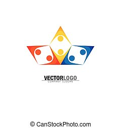 Abstract colorful happy people vector logo icons