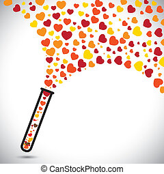 abstract colorful heart symbols created from test tube. This...