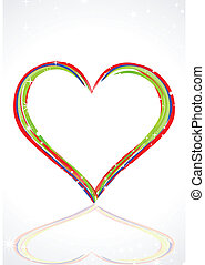 abstract colorful heart with line