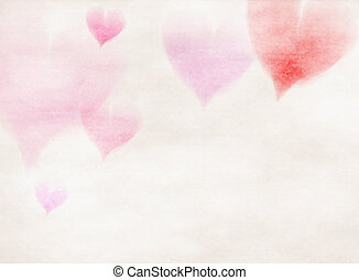 Abstract colorful hearts watercolor for background.
