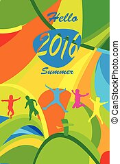"Abstract Colorful ""Hello Summer"" Olympic Games Brazil Rio..."