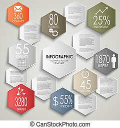 Abstract colorful hexagon info graphic poster template...